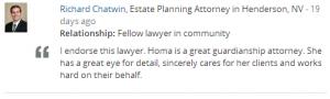 Avvo Endorsement from June 2014 of Homa S. Woodrum, Esq.