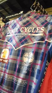 Woodrum Law LLC Logo on Irwin Cycles' Female Race Cut Bike Jersey